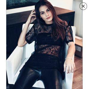 Linea Pelle Black Lace Oversize Tee
